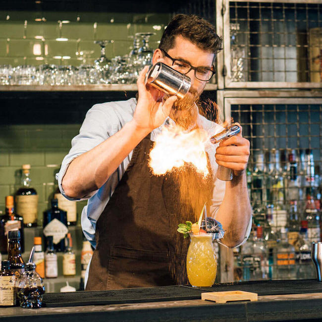 bartender-creating-fire trick